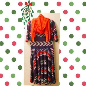 Lularoe Nicole fit and flare dress chevron Size XL